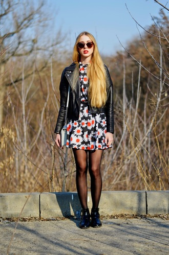 lisa f.k. music of the wind blogger perfecto black leather jacket floral dress daisy