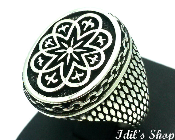 Men's Ring, Turkish Ottoman Style Jewelry, 925 Sterling Silver, Gift, Traditional Handmade, With Engraved Figures, US Size 10, New