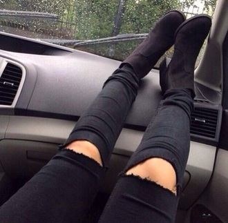 black heels ripped jeans jeans