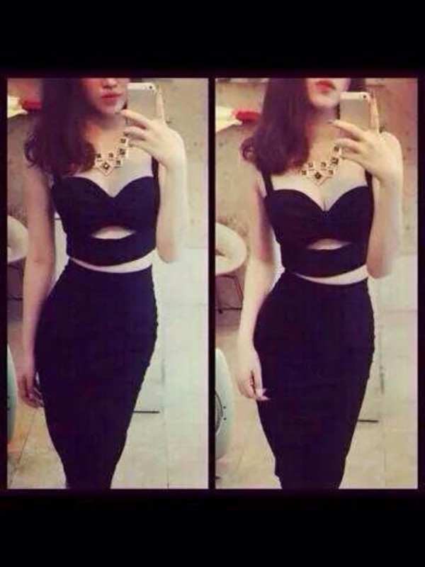 top clothes t-shirt dress crop tops black crop top black top black dress