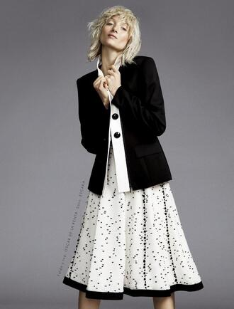 skirt ash walker model white skirt midi skirt spring outfits blazer black blazer blonde hair editorial polka dots