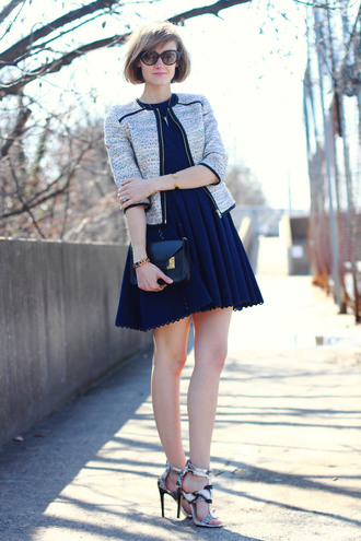 district of chic blogger navy dress spring jacket sandals
