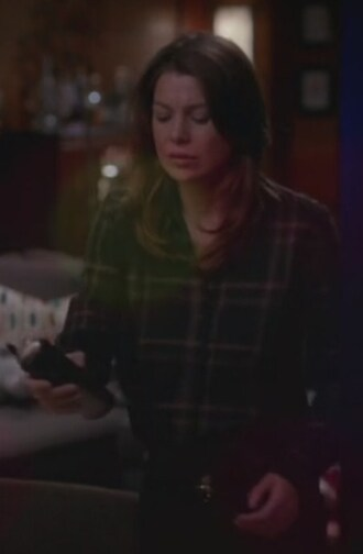 shirt ellen pompeo plaid green greys anatomy meredith grey