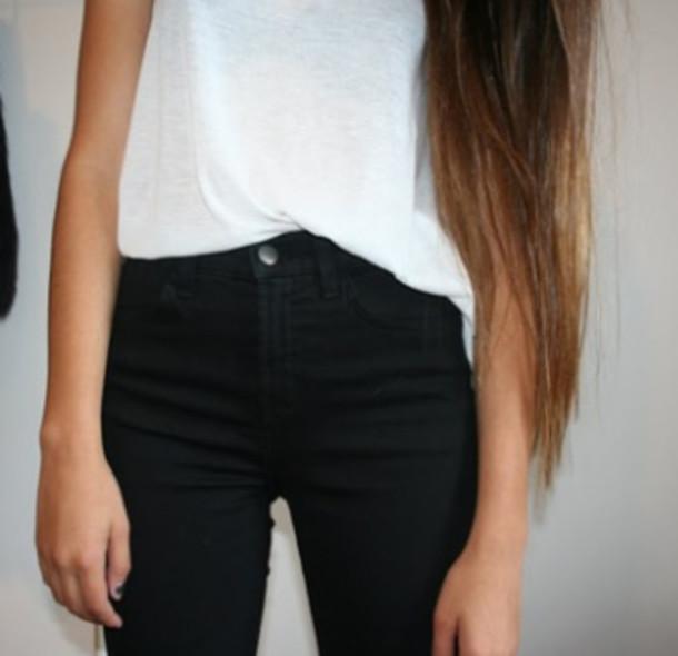 t-shirt skinny pants loose tshirt comfprtable jeans minimalist shirt