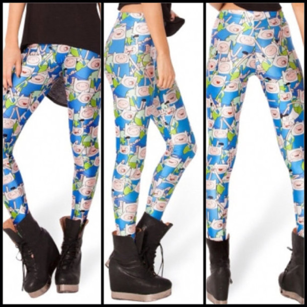 pants finn finn the human adventure time adventure time leggings leggings blue green cute