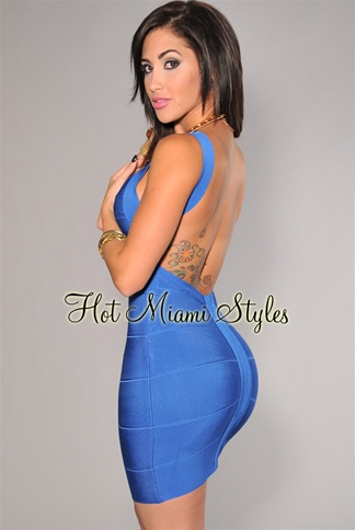Royal-Blue Plunging Back Silky Bandage Dress