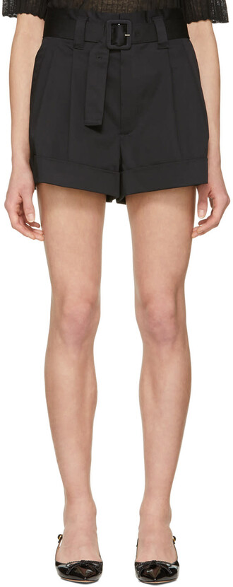shorts pleated high black