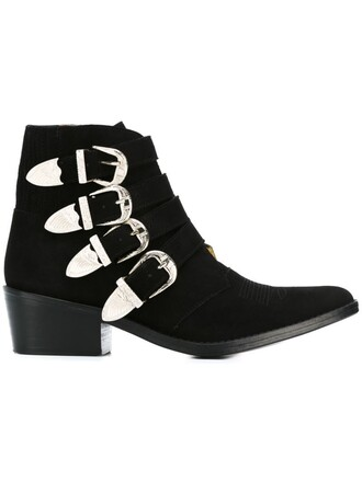 metal women boots ankle boots leather suede black shoes