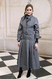 skirt,jacket,grey,olivia palermo,blogger,fashion week,paris fashion week 2018,shoes,ankle boots