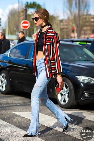 lefashion blogger jacket t-shirt shoes jeans blazer spring outfits crop tops flare jeans pumps