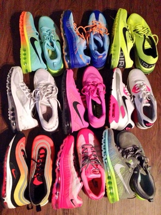 shoes nike air maxx pink blue white neon multicolored