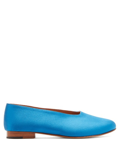 Martiniano flats satin blue shoes