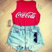 tank top,red,love,and,:),coca cola,shorts,sunglasses,t-shirt,coca cola drink red,shirt,cocacola