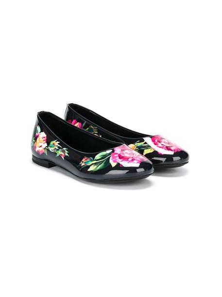 Dolce & Gabbana Kids floral leather print black shoes