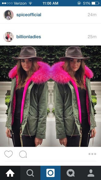 jacket pink fur brown hat army green jacket fall outfits fall jacket