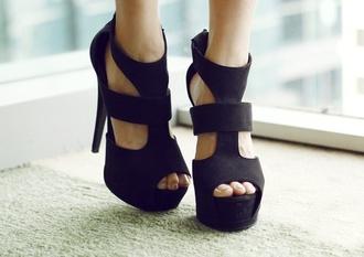 shoes black shoes black heels wedges