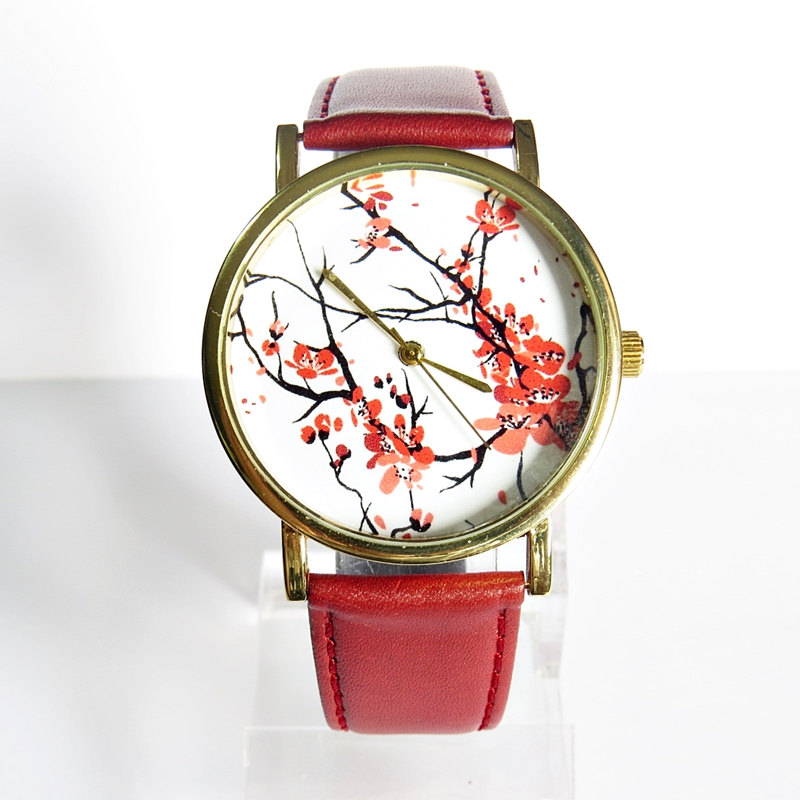 New! Cherry Blossoms Floral Watch, Vintage Style Leather Watch, Women Watches, Boyfriend Watch, Genuine Leather