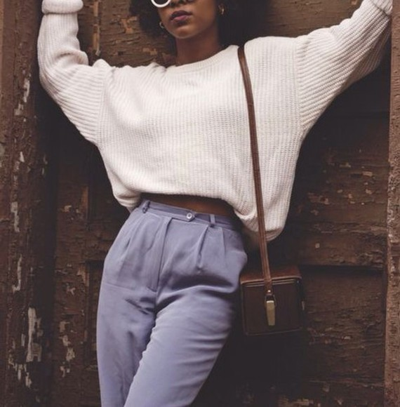 oversized sweater bah vintage high waisted pants