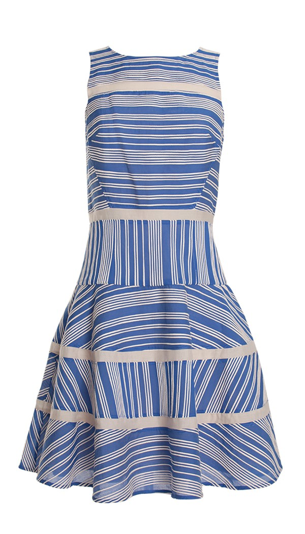 Tibi Raffia Organza Stripe Dress