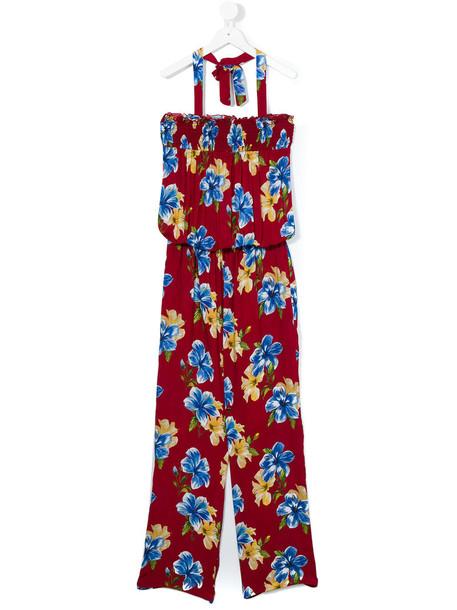 Lapin House - floral print halterneck jumpsuit - kids - viscose - 14 yrs, Girl's, Red