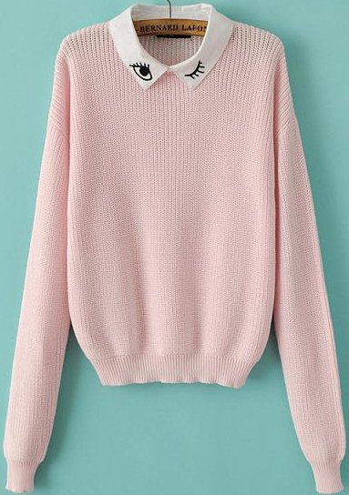 Eye embroidered crop knit sweater