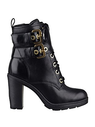 Finlay Lace-Up Buckle Booties at Guess