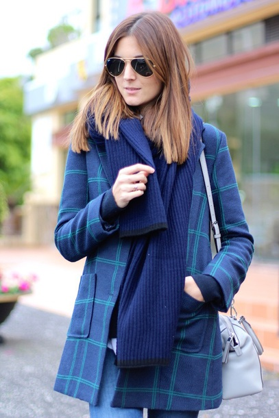 coat checkered mango green blue