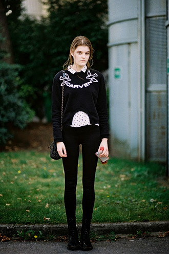 vanessa jackman blogger sweater carven polka dots white shirt black jeans preppy boyish