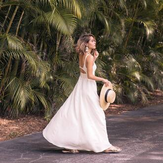 dress hat tumblr maxi dress white dress summer dress summer outfits vacation outfits shoes slide shoes sun hat holidays