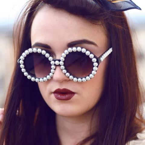 f54b73d69 Extravagant Designer Womens Pearl Round Fashion Sunglasses 8527 | zeroUV