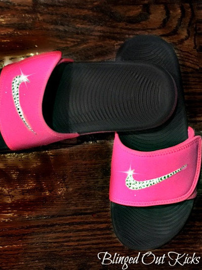 c836caa014a6 Nike Womens Kawa Adjustable Slides Vivid Pink Black with Swarovski ...