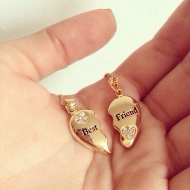 jewels necklace bff best friends necklace friendship necklace heart necklace jewelry tumblr pinterest gold girl girly teenagers