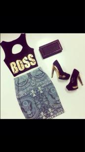 skirt,dollar bill,pencil skirt,boss,top,cut-out
