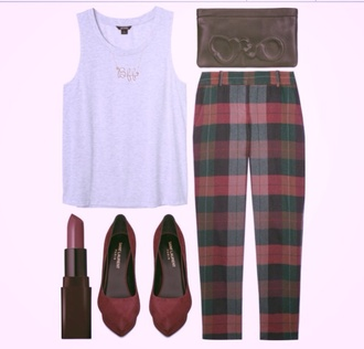 bag brown leather bag red white tank top high heels red high heels lip gloss squares pants tank top shoes jewels platform shoes