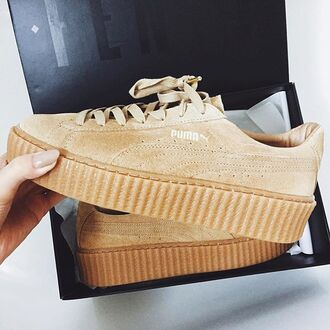 shoes puma rihanna puma sneakers tan trainers sneakers