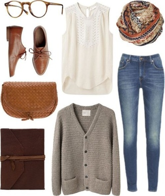 blouse white lace jeans cardigan grey shoes fashion fall outfits back to school scarf light brown knit light brown cardigan knitted cardigan clothes oversized cardigan grey cardigan top white top white shirt white blouse