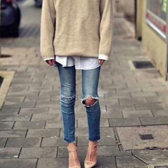 sweater oversized sweater jeans