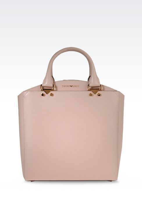 Emporio Armani Women Shopper - SMALL TOTE BAG IN BOARDED LEATHER Emporio Armani Official Online Store
