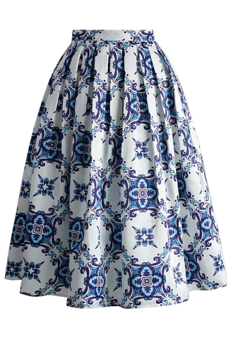 skirt blue kaleidoscopic pleated midi skirt chicwish pleated skirt midi skirt floral skirt midi skirt set