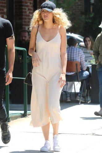dress mini dress blake lively streetstyle sneakers camisole slip dress
