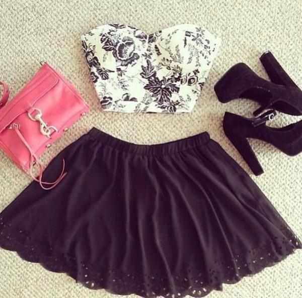 shirt crop tops elegant black and white skirt