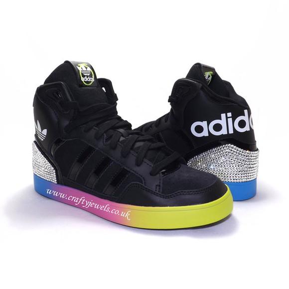 colorful swarovski rita ora swag adidas adidas sneakers adidas originals black style fashion custom made custom shoes sneakers shoes crystal