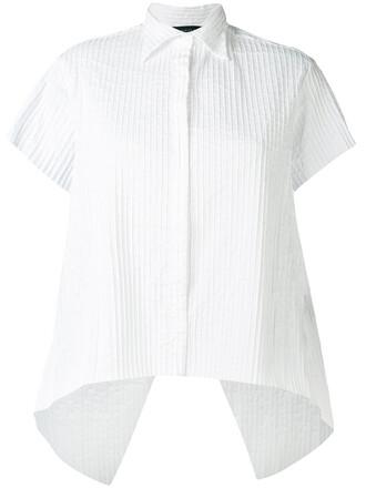shirt stripe shirt women spandex white cotton top