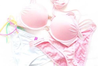 swimwear baby pink victoria secret bikini push-up bandeau