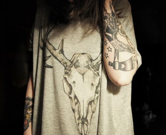 shirt deer grey skull t-shirt grey tee-shirt animal head
