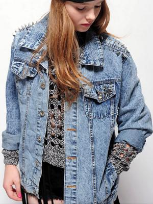 Stud Acid Wash Denim Jacket | Choies