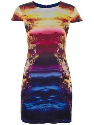 dress alexander mcqueen mineral sunset print