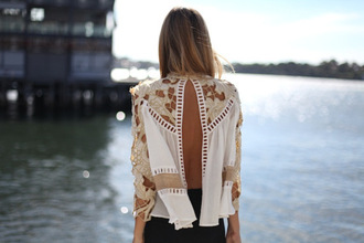 blouse open back shirt open back lace up white beige semi-transparent