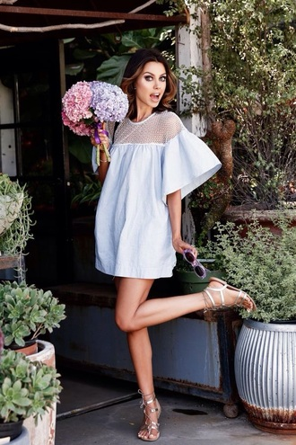 dress baby blue bell sleeves short bell sleeve dress blue dress baby blue dress mini dress summer dress mesh dress sandals flat sandals silver low heel sandals silver sandals flowers viva luxury blogger summer outfits metallic sandals date outfit sexy dress