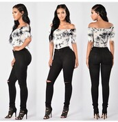 off the shoulder,black and white,high waisted jeans,ripped jeans,black heels,black girls killin it,body goals